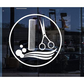 Window Sign and Wall Stickers Vinyl Decal Hair Salon Stylist Barber Tools Barbershop Unique Gift (ig2091w)