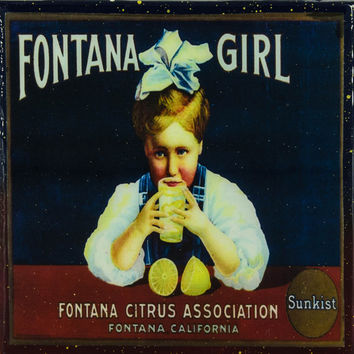 Fontana Girl - Vintage Citrus Crate Label - Handmade Recycled Tile Coaster