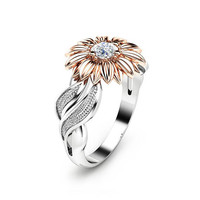Special Reserved - Natural 1ct black Diamond Sunflower Engagement Ring 14K Two Tone Gold