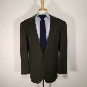 Vintage mens blazer sport coat jacket 80's by Fioravanti Bespoke Brown Tweed Herringbone 44