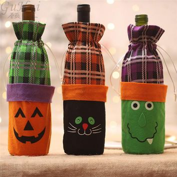 3Pcs Cartoon Pumpkin Black Cat Green Monster Wine Bottle Bag Halloween Bar Party Show Favor Decor Spirit Festival Biscuit Kids