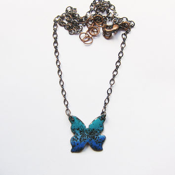 Tiny Blue Butterfly Necklace in Enamels