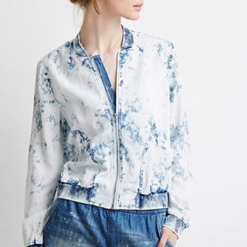 Bleached Chambray Bomber Jacket