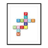 Bathroom Wall Art - Scrabble Tiles - Flush Brush Wash Aim - Kid's Bathroom Art - Typography - Word Art Print - Choose your colors