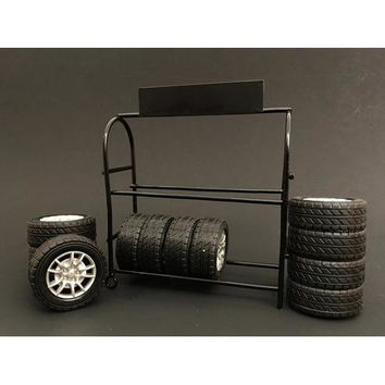 Metal Tire Rack with Tires and Rims For 1:18 Diecast Car Models by American Diorama