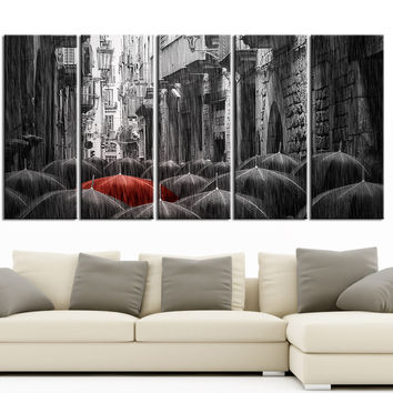 Large Wall Art Black and Red Umbrella Canvas Print | Paris Street Art Canvas Print | Different Style | Black Umbrella