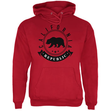 California Republic Banner Red Adult Hoodie