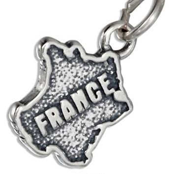 """""""France"""" Map Charm - Sterling Silver Pendant"""