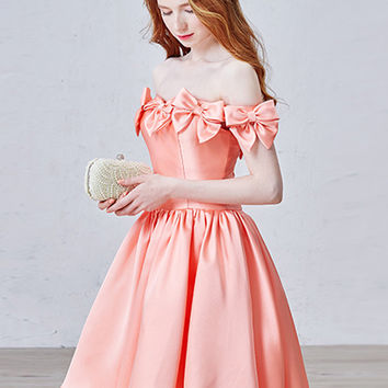 Peach Pink Off Shoulder Bowtie Trim Cross Back Homecoming Dress