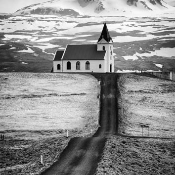 Iceland Ingjaldsholl Church And Mountains Black And White