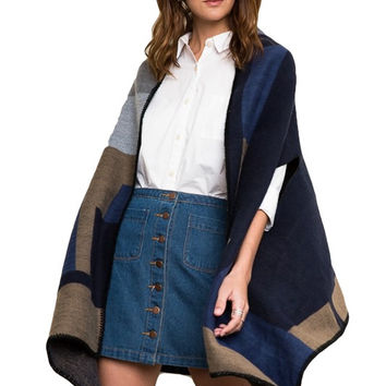Rowan Colorblock Poncho Cardigan - Navy + Multi