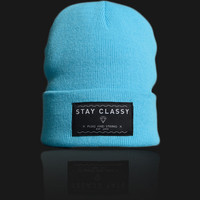 Plug and String Clothing — STAY CLASSY BEANIE - BLUE