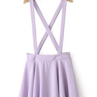 Purple Criss Cross Zipper Skirt - Sheinside.com
