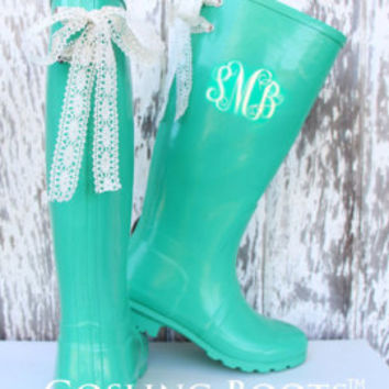 Personalized Rain Boots bows & monogram by GoslingBoots on Etsy