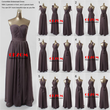 Sexy New Dark Grey Long Bridesmaid Dresses  Convertible Formal Prom Party Gown DIY Dress Style as You Like Chiffon Elegant