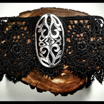 Handmade, Choker, Black Choker, Choker Necklace, Filigree Choker, Gothic, Goth, Day Collar, Collar, Jewelry, Custom, Lace Collar, Black Lace