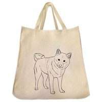Shiba Inu Full Body Outline Design Extra Large Eco Friendly Reusable Cotton Canvas Tote Bag