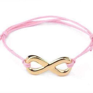Pink and Gold Tone Infinity Friendship Bracelet