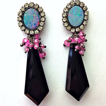 Australian Black Opal Earring, Sapphire Cluster, Diamond Bezel Style, Long Black Earrings, October Birthstone, Hamptons Life Jewelry