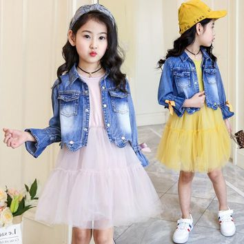 Children's clothing 2018 new girls spring denim clothes sets kids mesh dress suits personality suit baby child casual jackets