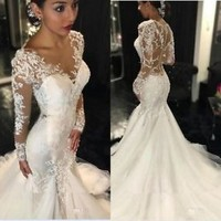 Long Sleeves Mermaid Wedding Dress with Sheer Back Custom Size 2 4 6 8 10 12 14