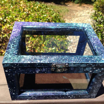 Galaxy Alter Box Hand Painted Galaxy Art Box Galaxy Box Healing Crystals and Stones Metaphysical Stones Crystal Box Tarot Box Trinkit Box
