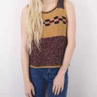 Vintage Tribal Knit Sleeveless Boho Top