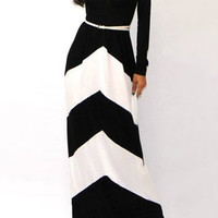 Black Striped Long Sleeve Maxi Dress