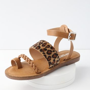 Johnnie Leopard Flat Ankle Strap Sandals
