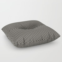 Black and White Hexagon Diamond Pattern Floor Pillow by Sheila Wenzel