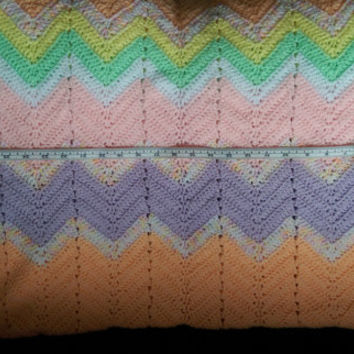 Crochet Baby Blanket Chevron Orange Pink Purple Green Variegated yarn Heirloom Handmade Afghan Throw Crocheted Baby Girl Blanket