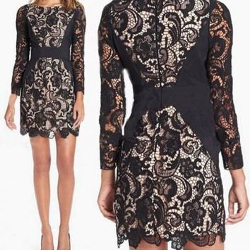 New Women Black Patchwork Lace Hollow-out Wavy Edge 3/4 Sleeve New Year Party Mini Dress