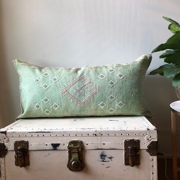 KING SIZE WASHED GREEN CACTUS SILK PILLOW COVER