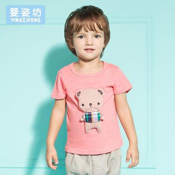 New 2016 Summer Baby Boy Girl Clothes Teddy Bear Kids bebe children Clothes T-shirt clothing 1pc