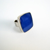 Cobalt Blue statement ring, lapis lazzuli royal big chunky modern cocktail silver adjustable summer greek jewelry, glass dome, custom color