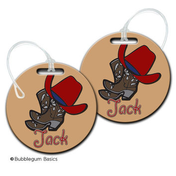 CUSTOM Personalized Boys Cowboy Hat Boots Bag tag for backpack Luggage ID Fiberglass not laminated diaper camera tote