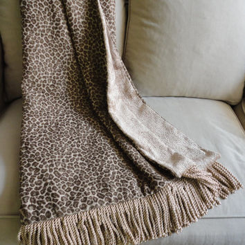 Leopard Print Chenille Throw Blanket, One of a Kind, Made in North Carolina