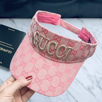 GUCCI Fashion Women Men Embroidery Sports Sun Hat Baseball Cap Hat Pink