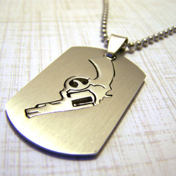 Mens Necklace / Stainless Steel Revolver Gun Punch Out Dog Tag Style Necklace / Gift for Him