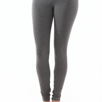 Hard Tail Flat Waist Ankle Leggings in Heather Gray