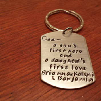 Hand stamped personalized dog tag key chain-a son's first hero-Father's Day gift-a daughter's first love-Dad-Keychain for Dad-Dad's keychain