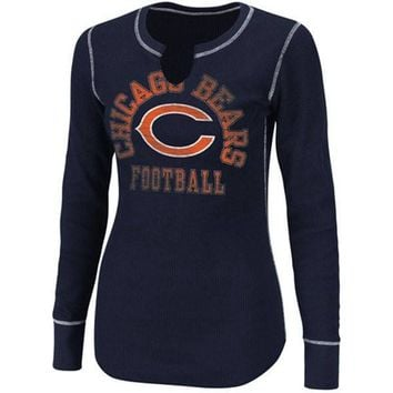 Chicago Bears Ladies Game Day Gal III Long Sleeve Thermal T-Shirt - Navy Blue