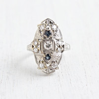 Antique 14K White Gold Diamond & Sapphire Shield Ring - Vintage Art Deco 1920s Size 5 Filigree 1/3 CTW Fine Jewelry