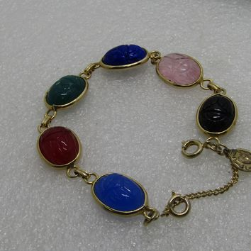 "Vintage Scarab Bracelet with Lutheran Sterling Charm, 7.25"", 7.25"", Safety Chain"