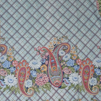 2 Vintage Cuts of 1980s Home Decorating Cotton Fabric by Concord Fabrics with Pink Paisley, Blue Plaid, & Flowers, 3.75 Total Yardage, 42-44