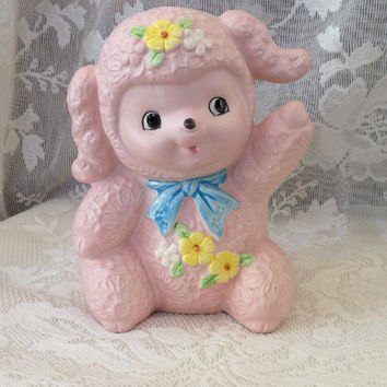 Inarco Japan Pink Lamb, Ceramic Planter, E-6491 Baby's Nursery Decor, Girl Shower Gift, Vintage Collectible Cottage Decor
