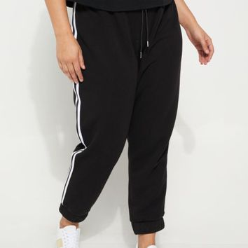 Plus Black Athletic Stripe High Waist Joggers