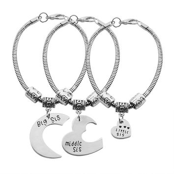 3Pcs/Set Best Friends Sister Bracelet Moon Love Heart Big Sis Middle Sis Little Sis Bracelets For Women BFF Jewelry Pulseras
