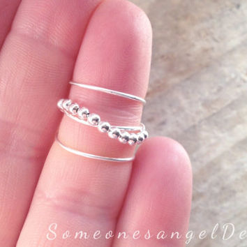Sterling silver ring bead ring knuckle ring mid finger ring silver midi ring adjustable midi ring silver ring above knuckle ring stacking