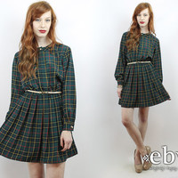 Vintage 80s Pleated Plaid Secretary Mini Day Dress S M Secretary Dress Mini Dress Green Plaid Dress Longsleeve Dress Green Dress 80s Dress